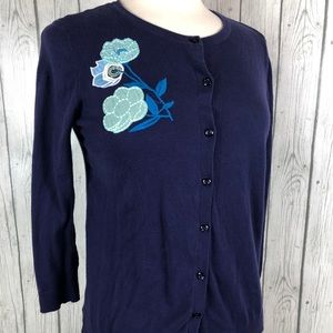 LOFT Outlet Button Up Cardigan Sweater M Navy Blue
